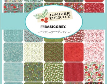 """Moda Juniper Berry Charm Pack, (42) 5"""" Quilt Fabric Squares by Basic Grey Quilting Sewing"""