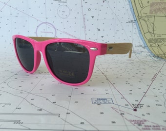 Pink and bamboo sunglasses