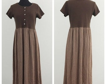 60% OFF Vintage 1990s Brown and Pink Plaid Ribbed Maxi Dress M (F)