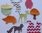 Iron On Appliques Set of Eight Woodland Appliques Sew On Appliques  Baby Shower Activity