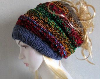 SALE *** 3 in 1 Dreadlock Tube Hat Cowl Beanie Headband  Wide Hair Wrap Dreadlock Accesory Colorful hat Scarf Acrylic bohemian knit hat
