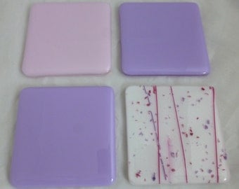 Fused Glass Coasters in Pastel Pink and Lilac Combo - set of 4