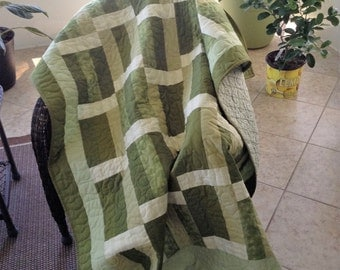 """Green Pastures - 53"""" x 72"""" - Metro Living for Robert Kaufman/Moda Solids/Grand Revival by Tanya Whelane -Contemporary Quilt"""
