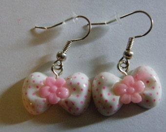 Dangle Pink, White Bow Earrings    429
