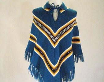 Southwestern Knit Fringed Poncho Shawl Cape