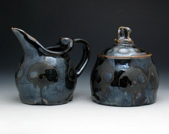 Skull Creamer & Sugar Bowl Set in Dark Metallic Bronze Glaze