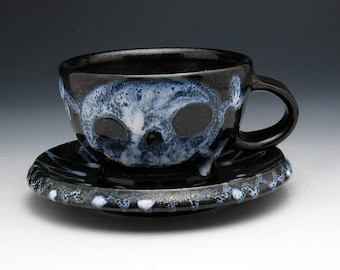 Skull Cup & Saucer, Ghost Skull and Crossbones Teacup and Saucer