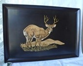 """Vintage Couroc of Monterey Large Serving Tray Wood Inlay BUCK DEER 18""""x 12.5"""""""