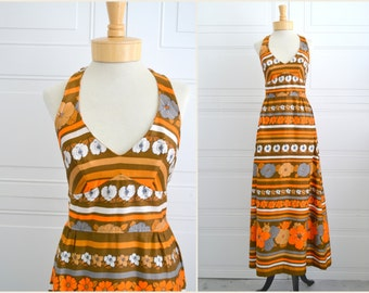1960s Orange Striped Halter Maxi Dress