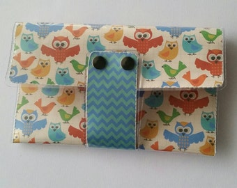 All in One Clutch - Owls & Birds/blue, orange, forest, critters, colorful,  clutch, nature, card/cash/ID case, vinyl wallet, snap wallet