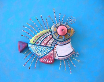 Steampunk Monkfish, Original Found Object Wall Sculpture, Wood Carving, Wall Decor, Fish Sculpture, by Fig Jam Studio
