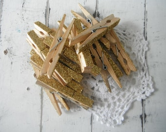 french country gold glitter altered pegs altered wedding favor cottage chic photo hanger clothing pins rustic chic wood pegs clothing 8 PC