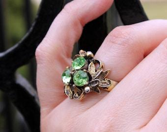 Pretty Peridot Rhinestone Ring, Adjustable, ca. 1960s