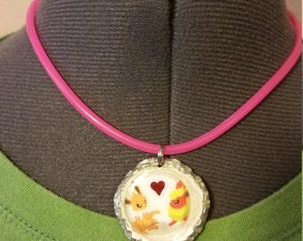 Jolteon and Flareon Bottlecap Pendant Necklace