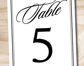 ART DECO Classic Elegant Table Numbers - 5x7 Numbers 1- 20 - Instant Download