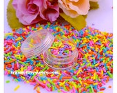 Rainbow Faux Sprinkles, Fake Sprinkles ,5 Grams, D.I.Y Small Rainbow Funfetti, Decoden Candy , Polymer Sprinkles, Handmade By: Tranquilityy