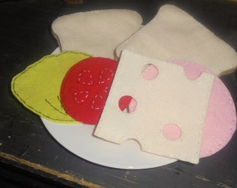 Felt Ham & Swiss Sandwich Playfood Set