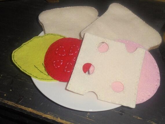 Felt Ham & Swiss Sandwich Playfood Set