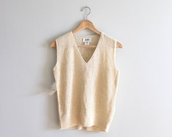 vintage cream rib knit sweater vest - new old stock crochet sweater vest / Laura Yang - oatmeal hand loomed ribbed knit / 80s sweater vest