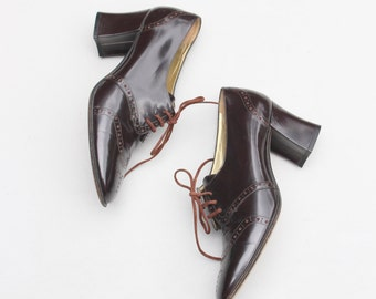 vintage Pancaldi oxford heels - brown wing tip heels / Italian leather oxfords - chocolate brown heeled oxfords / ladies 7 - 7.5 B