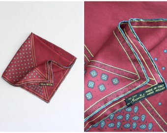 vintage foulard silk pocket square - burgundy paisley foulard print square / Imperial - hand rolled Italian silk scarf / Italy - silk square