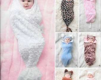 Simplicity 1898 / 0337 Baby Infant Swaddling Sacks And Hat Sewing Pattern Blanket UNCUT Sizes XXS, XS