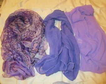 Purple Majesty: Three Vintage SILK CHIFFON, Shades of PURPLE, Long, Rectangular Scarves --- 1970's - 1980's
