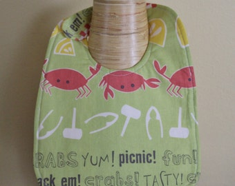 Unisex Crab and Picnic Summer Baby Bib