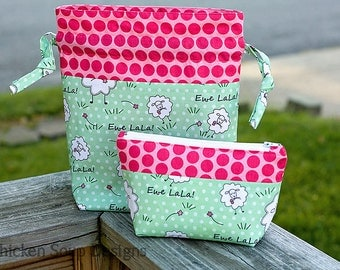 "New! ""Ewe LaLa!""  Medium Drawstring Project Bag (Knitting/Crochet/Needlecraft)"