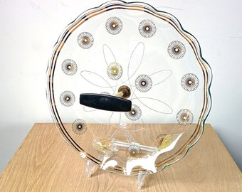 1960s Atomic Glass Serving Tray. Eames Era Cake Stand. Mad Men Era Canape Plate.