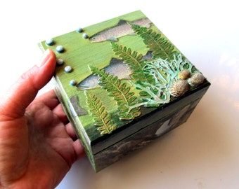 Jewelry Box Wooden Trout Fish Yellowstone Native American decoupage with fern fronds lichen shells Stash Box