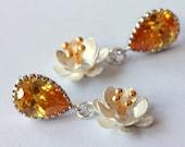 Silver Flower Earrings, Dangle Earrings, Drop Earrings, Minimalist, Two Tone, Mixed Metal, Stud, Bridal Jewelry, Modern, Valentine's Day