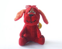Vintage Dakin Dream Pets Rufus, red dog, 1950s stuffed animal plush toy, made in Japan, velveteen, sawdust, with paper tag #1226, valentines