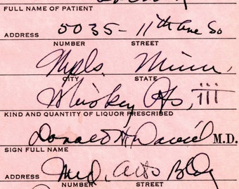 Whiskey Vintage Ted 10/7 1933 Prohibition Whiskey Prescription Stub Doctor Daniel Minneapolis MN Pharmacy Speakeasy Bar