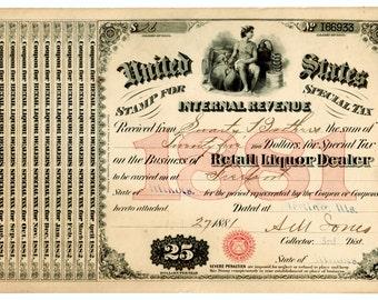 Antique 1881 Freeport IL Moonshine Whiskey Still Swartz Illinois Liquor License BAR Brewer Distillery War Tax Sterling IL Speakeasy Rare