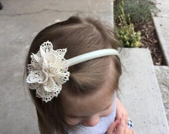 Cream Lace Flower Headband