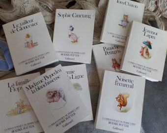 Cute set of 9 tiny children books from Beatrix Potter tales Peter Rabbit French text