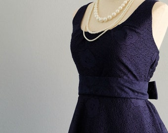 Dark navy lace dress lace bridesmaid party dress