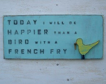 happier bird french fry wood wall art