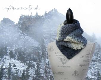 Snowy Mountain Fog Wrap and Tuck Cowl Scarf. Handmade Wool Scarf.