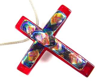 Dichroic Cross Pin & Pendant - Red Crimson with Rainbow Patterned Tie Dye Orange Blue Peach Gold Dichro - 1.75 Inch