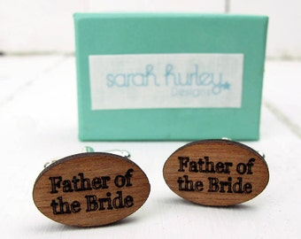 Engraved 'Father of The Bride' Cufflinks