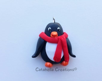 Clay Penguin charm-flat back-decoden-hair bow center
