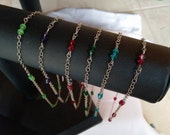 Chain Choker with Swarovski Crystal or Cat's Eye Glass Beads