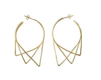 Geometric Earrings   Big Earrings   Minimalist Earrings in Sterling Silver   Gift for her