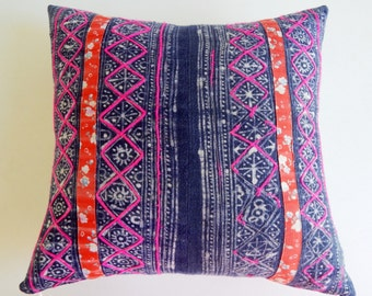 Indigo Vintage Hmong Pillow Cover - Rustic Bohemian Decor - Floral and Batik Pillow by Habitation Boheme