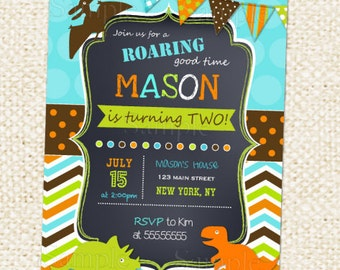 Dinosaur Birthday Invitation. Dinosaur Birthday Party Invite. Boy Birthday. Kids Birthday. Custom Photo. Printable Digial file.