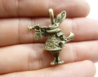 10pcs 27x22mm Antique bronze 3d Alice Rabbit Bunny Charm Pendant c8345