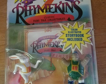 Vintage Rhymekins 1988 Figures & Storybook-  Sealed - Tortoise and the Hare