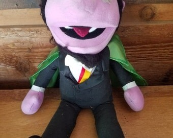 REDUCED Vintage First Edition 70's Sesame Street Count von Count Hand Puppet